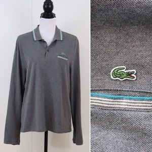 Lacoste slim fit polo gray long sleeve size 6